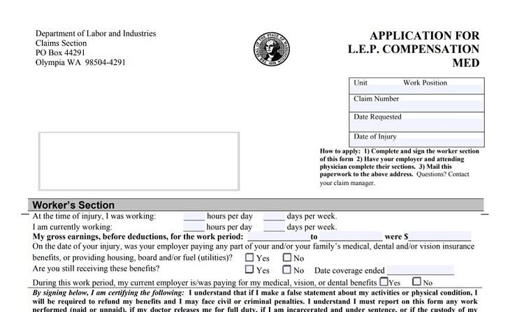 L&I claim LEP form
